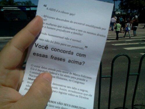Manifestação em Floripa contra a permanênciadoMarco Feliciano na Comissão de Direitos Humanos